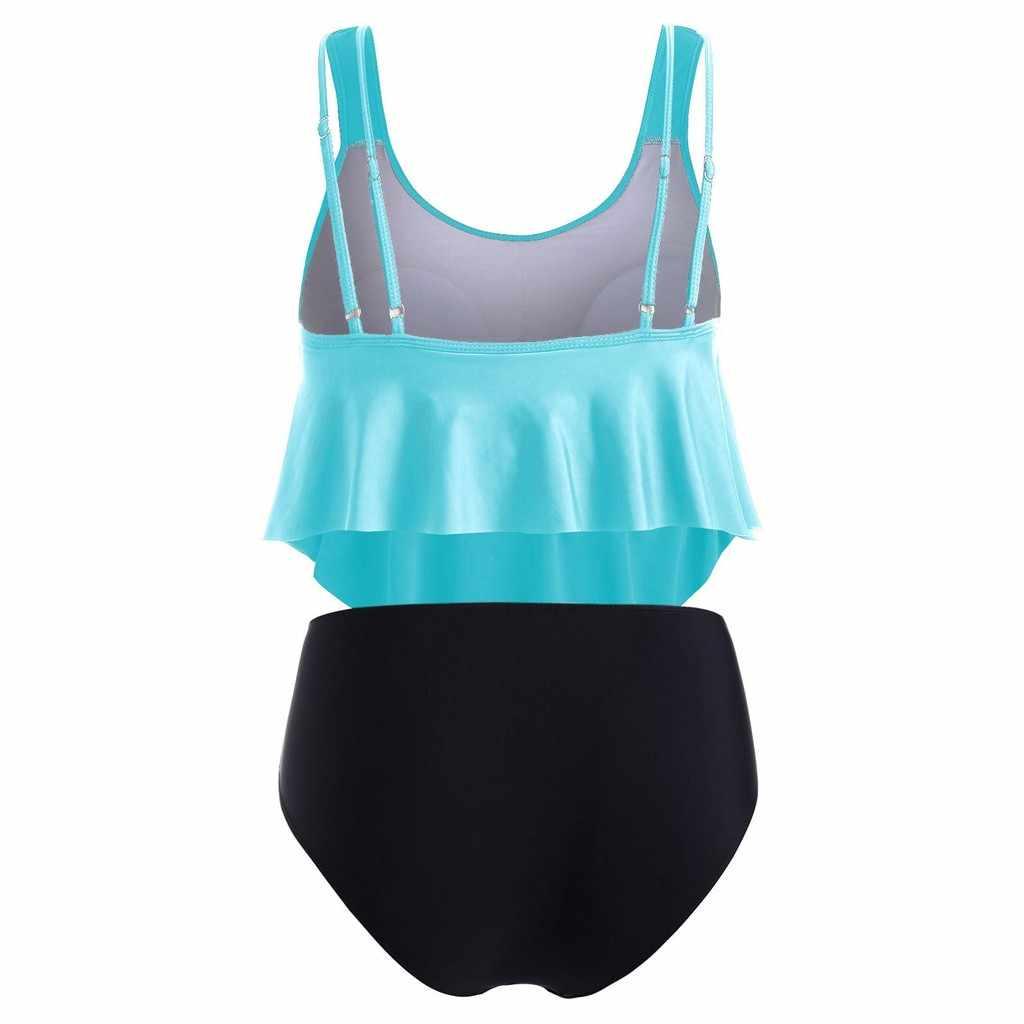 ツーピース水着パッド入りプラスサイズ水着女性タンキニ水着フリル刺繍ハイウエストビキニ黒 swimdress