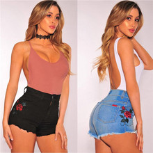 Fashion Shorts Women Summer High Waisted Shorts Denim Jeans Hot Beach Women's Embroidered Roses Printed Jeans Short feminino