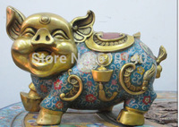 14Chinese collection Bronze gold Cloisonne Luck Ru Yi Wealth money pig Statue