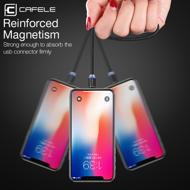 CAFELE 1M LED Magnetic USB Cable Magnet Plug USB Type C Micro USB IOS Plug for samsung huawei xiaomi iPhone Xs Xr X 8 7 6 Plus 5