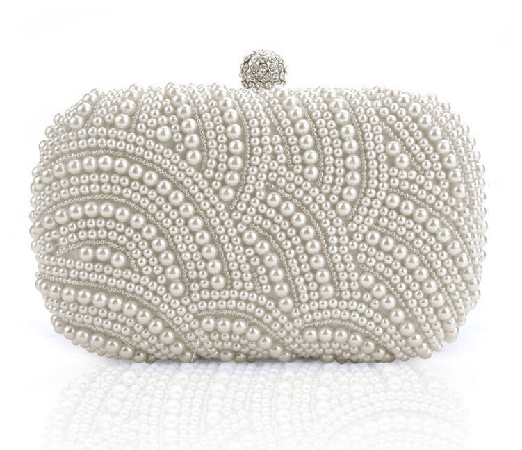 2015 Beaded CLUTCH Fashion Exquisite Evening Bag Noble Elegant Pearl Clutch Bags Party White w320