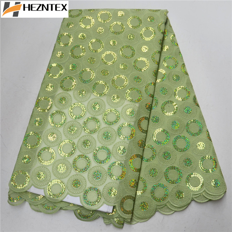 African Lemon Green Lace Fabric 2019 Nigerian Sequins Laces Fabric High Quality French Organza Lace Fabric