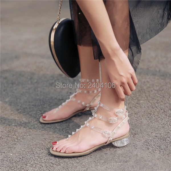 f36558945baa26 Sexy Transparent Summer Jelly Shoes Casual Thong Gladiator Sandal Women  Flip Flops T-tied Ankle Strap Clear Heel Rivet Sandals
