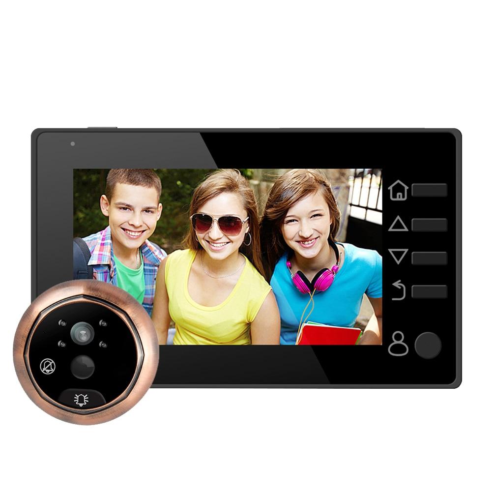 Vision nocturne 160 degrés 3.5 pouces LCD couleur numérique porte téléspectateurs enregistrable judas sonnette de sécurité à domicile caméra de sécurité