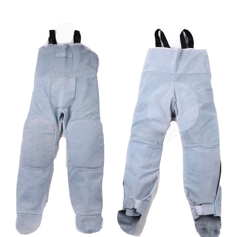 Electric welding cowhide protective clothing High temperature leather welding pants anti-flame-proof safety welding overalls wear resistant cowhide welding leather sleeves of welder clothing with high temperature resistance working safety sleeves g0823
