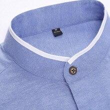 Minimalist Office Style Mandarin Collar Shirt