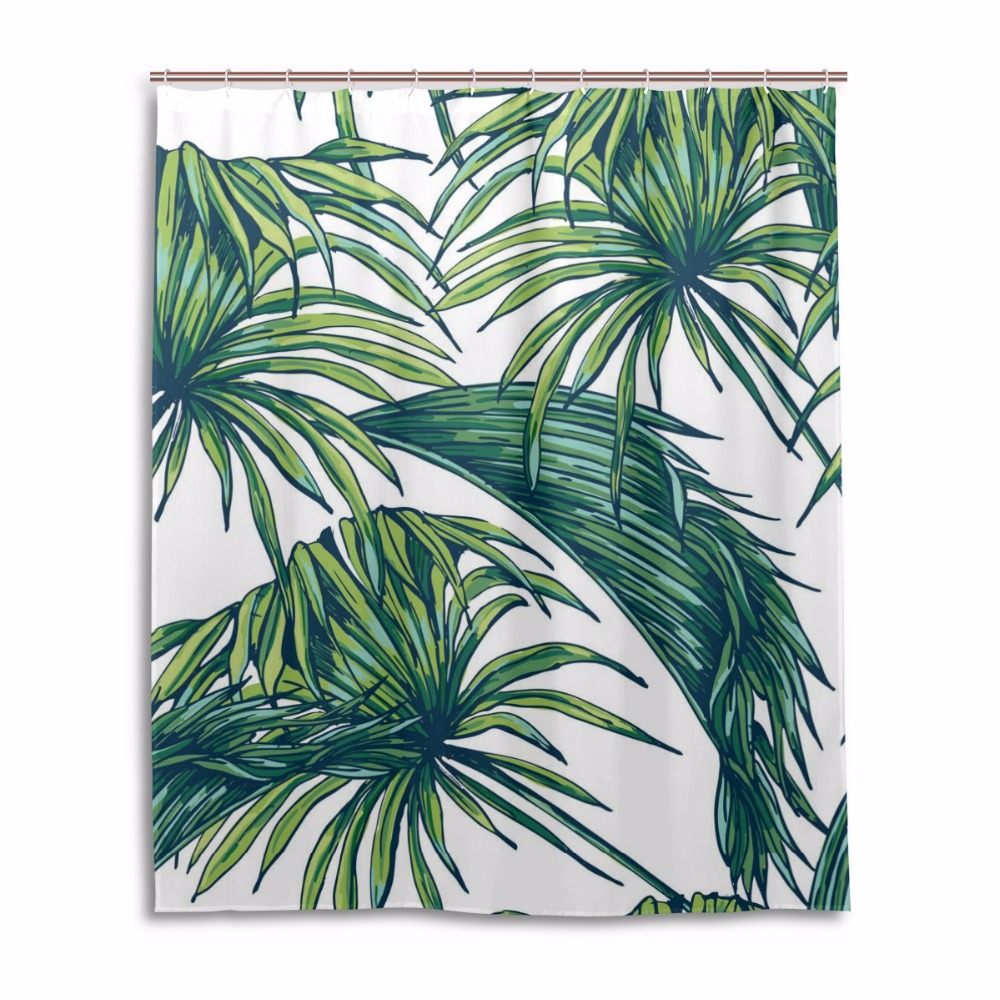 Green shower curtains - Leaves Shower Curtain Waterproof Mildewproof Bathroom Curtains Bath Curtains With 12 Hooks Gift Classical Green Shower