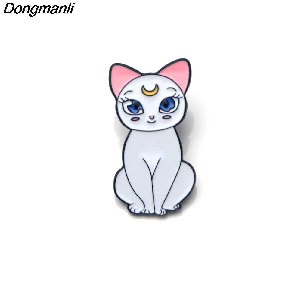 Dmlsky Sailor Moon Cat Seng Enamel Wanita Fashion Cute Catie Bros Ransel Kemeja Pakaian Bros Dasi Pin Lencana M2027