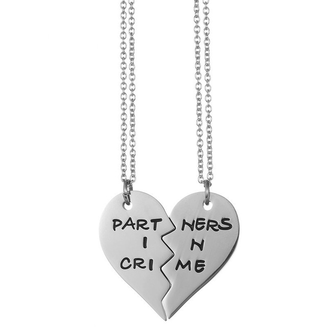 fbe58dfda3 Dropshipping Stainless Steel Partners in Crime Heart Puzzle Pendant  Necklace Friendship Best Friend Jewelry for Teen Girls