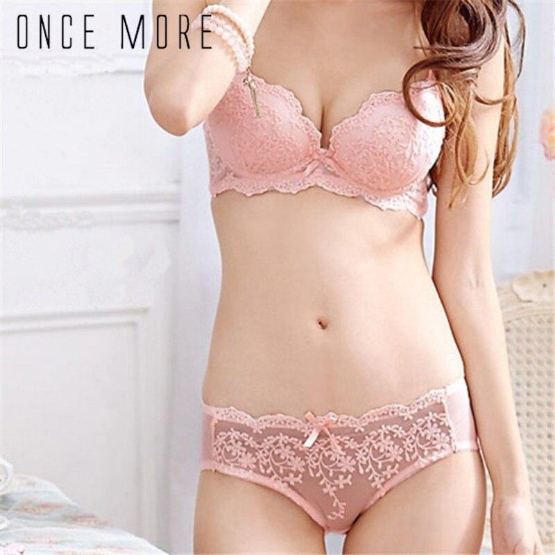 Women Lady Girls Sweet Bowknot Lace Floral Satin   Bra   Underwear Push Up   Bra     Set   Sexy Lingerie