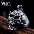 Beier new store 316L Stainless Steel  ring Halloween Ghost Skull men Rings  fashion jewelry BR8-428