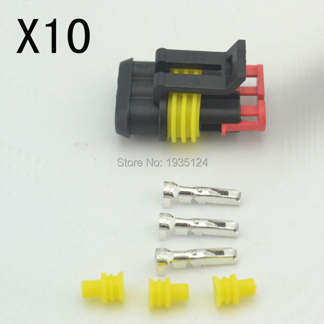 New Car Part 10 kit 3 Pin Way Sealed Waterproof Electrical Wire ...