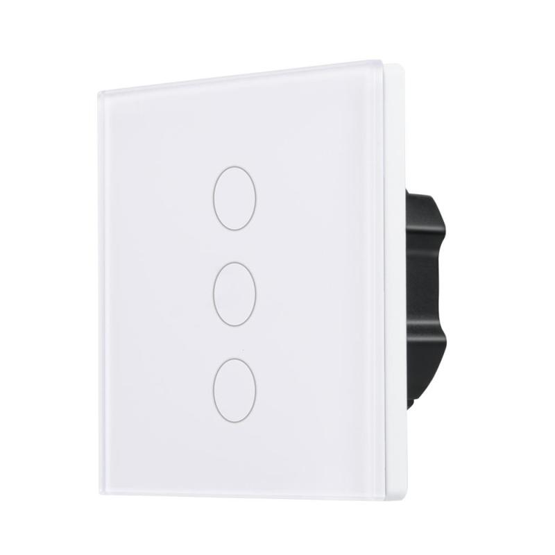 QIACHIP Smart Home Wireless Remote Control Light Lamps LED Switch 3 Gang Touch Sensor Switch Work with Amazon Alexa EU Plug H2 qiachip eu plug wifi smart led light wall switch touch luxury glass panel wifi timer switch remote control work with alexa h2