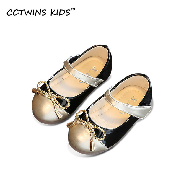CCTWINS KIDS 2017 Spring Autumn Princess Party Dance Flat Kid bow Toddler Mary Jane Children Fashion Baby Girl Brand Pink flat