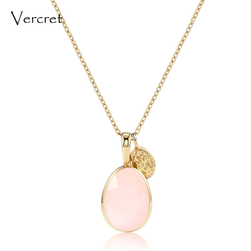 Vercret cute rose quartz necklace 925 sterling silver chain pendant necklace women's jewelry gift sp presale alloy rose flower pendant necklace