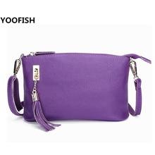 YOOFISH  brand casual shoulder bags women small messenger bags ladies retro design handbag with tassel female crossbody bag   стоимость