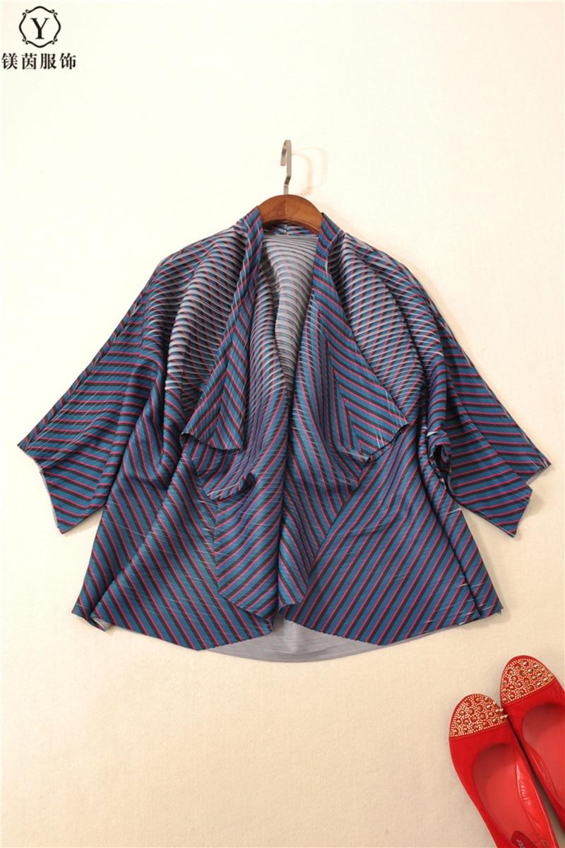 Lâche Blue Livraison Bleu Miyake Veste Châle Orange peacock Rayé Plier dark Cardigan Plissé Vêtement Gratuite Manteau Et xwwqX46B
