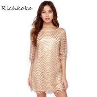 Richkoko 2017ゴールデン波スパンコールレースドレス女