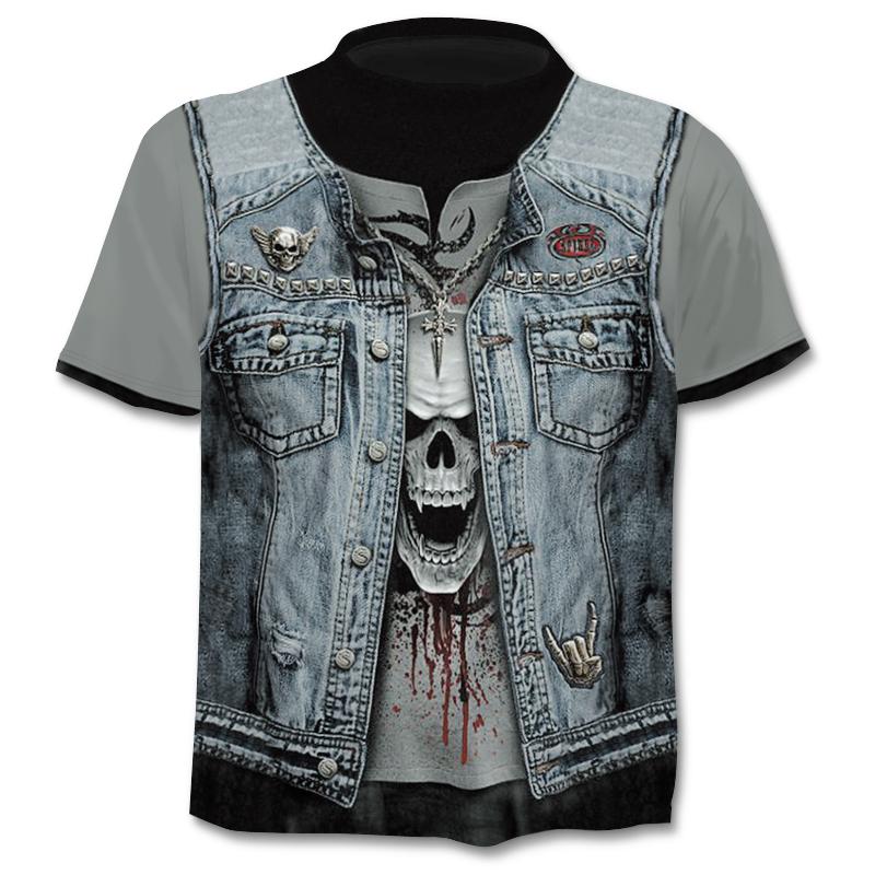 Camiseta ajustada de calidad con estampado 3D Calavera 2