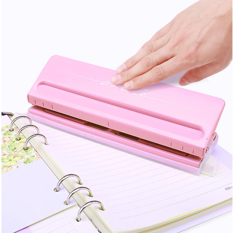 Metal 6 Hole Punch Adjustable Paper Cutter A4 Loose-Leaf Craft Punches Scrapbooking DIY Tools Office Binding Supplies