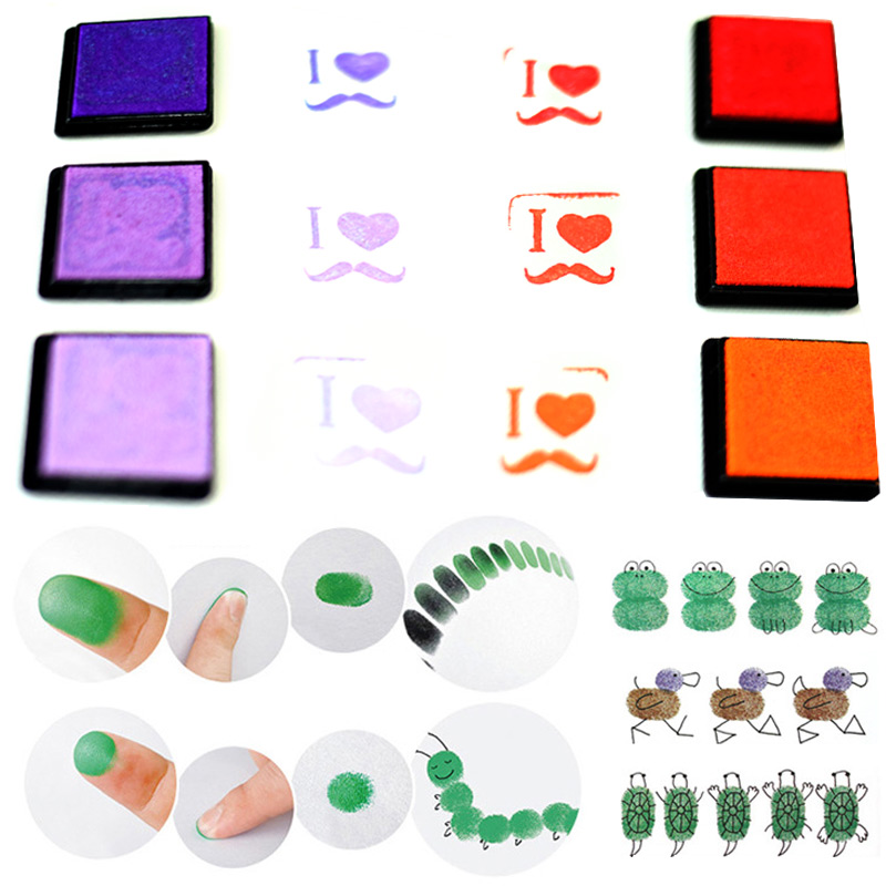 20pcs/set Kids DIY Craft Finger Print Ink Pad Inkpad Colorful Rubber Stamps Inkpads Ink & Pads Toys Accessories 2016 tri fidget hand spinner triangle metal finger focus toy adhd autism kids adult toys finger spinner toys gags