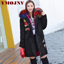 New 2017 Winter Coats Women Jackets Large Faux Fur Collar Thick Plus Velvet Ladies Down Parka ArmyGreen Hooded Jacket For Women