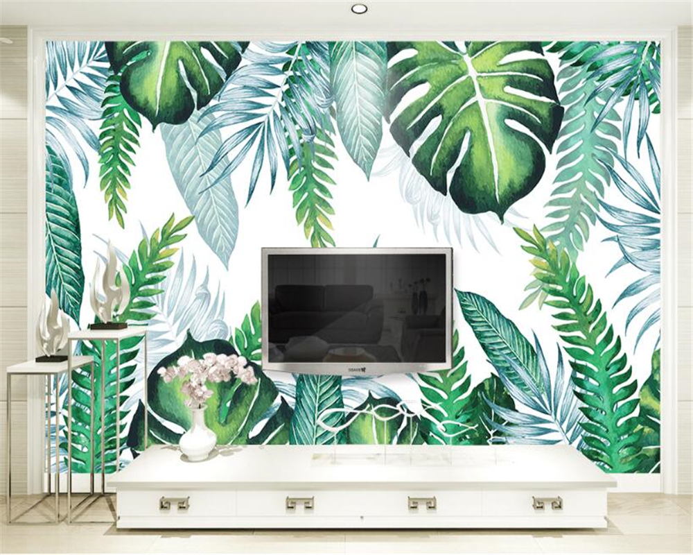 Beibehang custom modern simple 3d wallpaper hand painted tropical beibehang custom modern simple 3d wallpaper hand painted tropical plant leaf background wall murals papel de parede wall paper in wallpapers from home amipublicfo Images