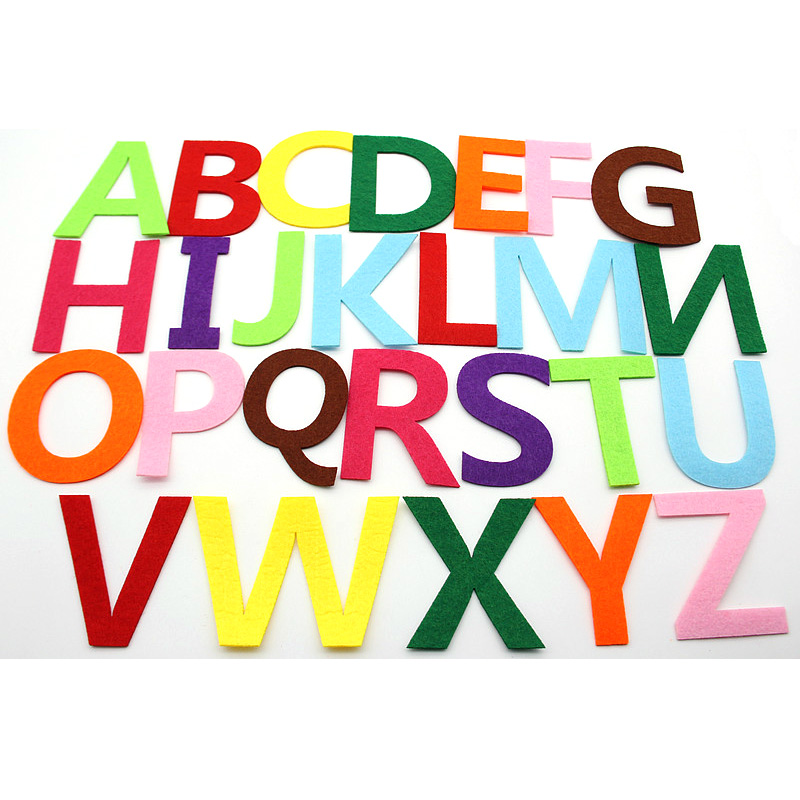 26pcs/lot Mix Color 26 Letters Kindergarten Decoration Felt Cloth Material Diy Felt Children Room Puzzle Craft Decoration Hot