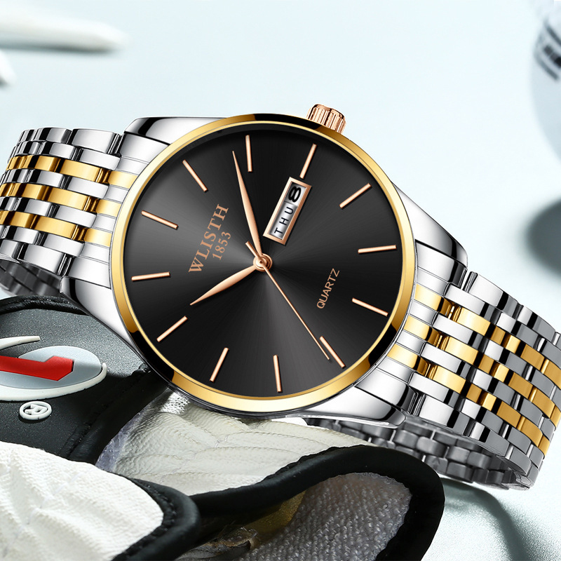 Men Watch  Luxury Brand Stainless Steel Slim Waterproof Clock Fashion Analog Week Calendar Quartz Business Male Wristwatches