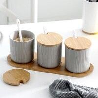 Nordic household ceramic seasoning jar seasoning bottle three piece set spice box salt pot kitchen supplies wx9041714