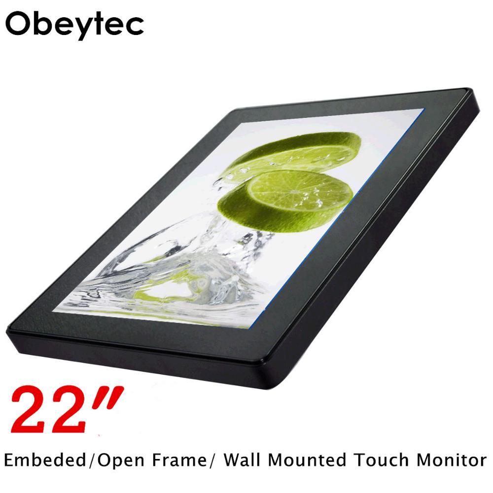 Obeytec <font><b>22</b></font> zoll LCD Breiten Metall Kapazitiven Open Frame <font><b>Touch</b></font>-<font><b>Monitor</b></font>, 10 Punkte, IP65, Vandal Proof, 3 mm Abdeckung Glas, 1366*768 image