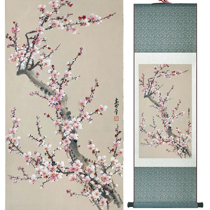 plum blossom Flower  painting Home Office Decoration Chinese scroll 20180718