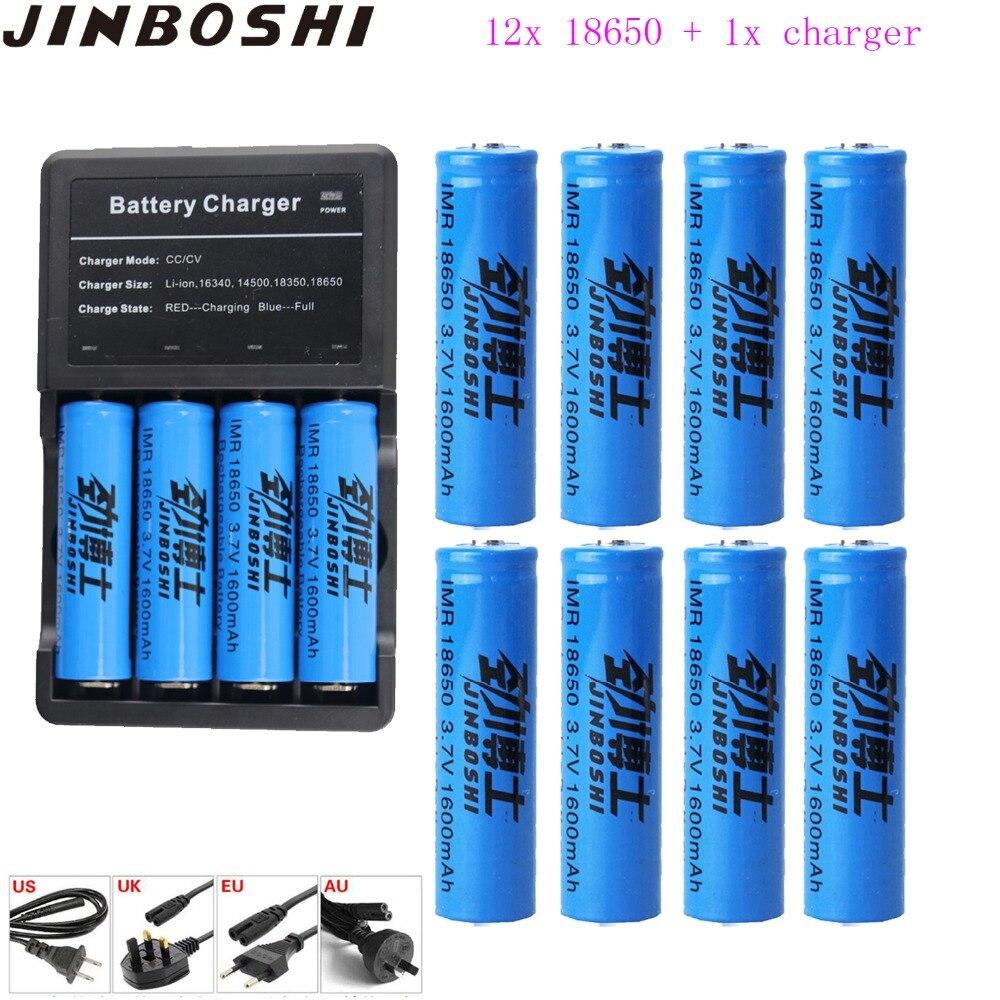 Nouvelle batterie Rechargeable 12x18650 batterie 3.7 V 18650 1600 mAh Li-ion pour lampe de poche avec chargeur pour batterie 18650