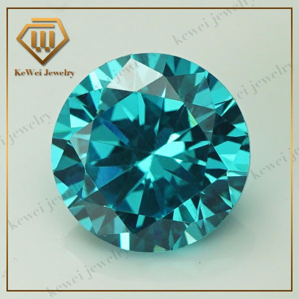 Factory Sell 5.25mm-8mm Aqua AAAAA CZ Stone Brilliant Round Cut Cubic Zirconia Loose Gems For Sale