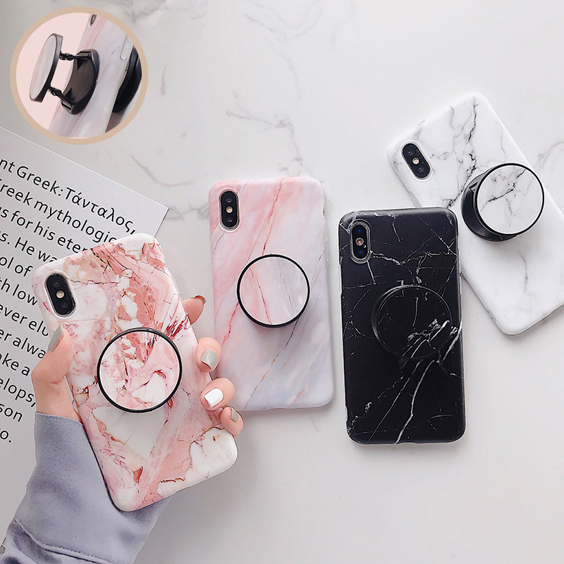 147ff8ad476 Marble Phone Case For iPhone X 7 8 6 6 S 6 S Plus Soft Silicone Grip Holder  Cover