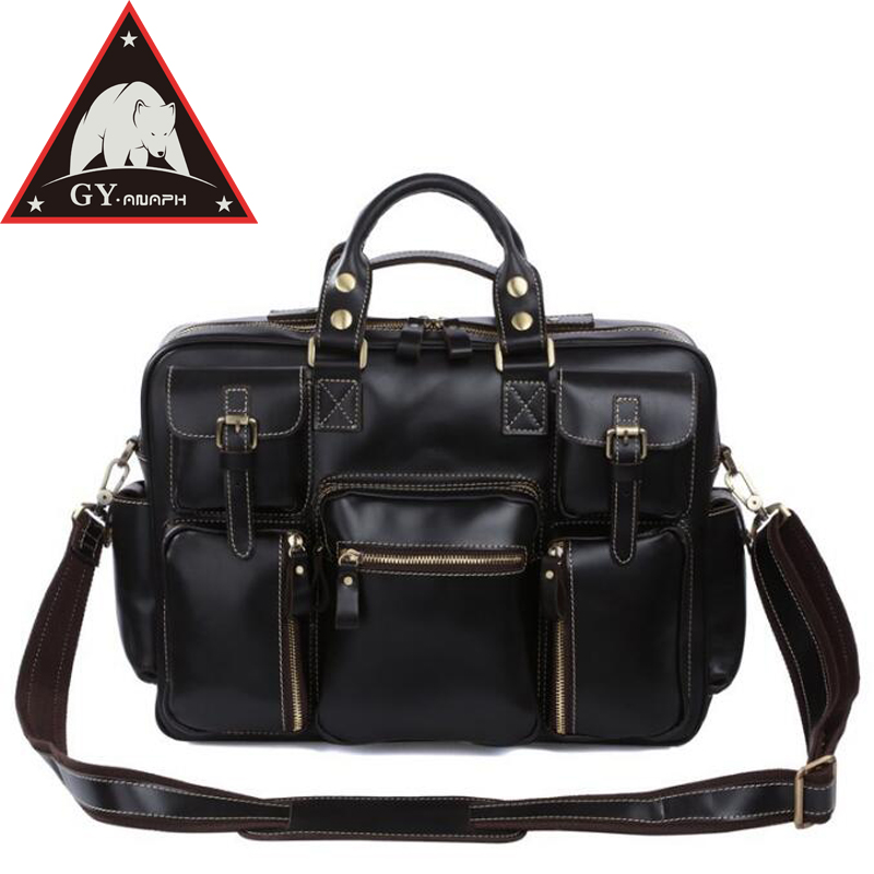 ANAPH Thick Glossy Cow Leather Laptop Satchel Briefcase For Men/ Travel Duffle Bag Fit 15 Laptop/ Overnight Weekender Tote Bags anaph holdall men s italian leather weekender travel duffle bags fit 17 laptop cabin bag carry on luggage in coffee