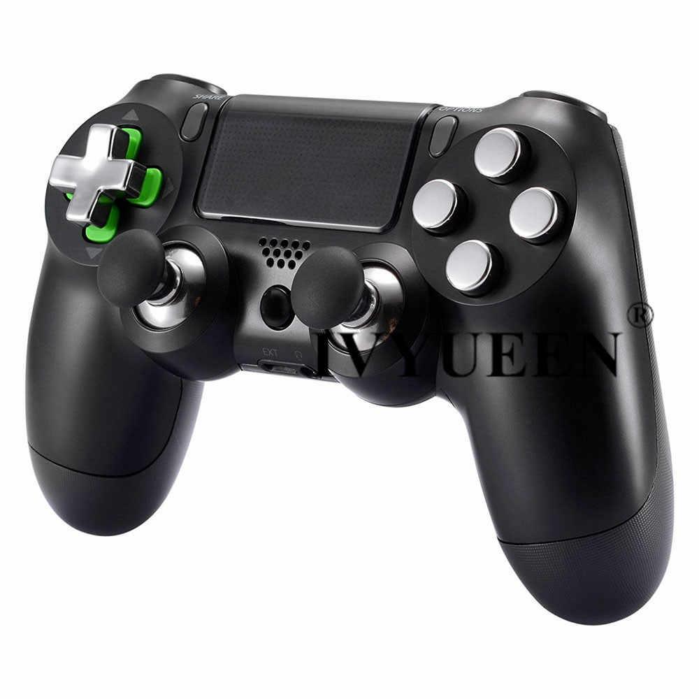 Ivyueen Magnetik Tombol Peluru Logam untuk DualShock 4 PlayStation 4 PS4 Pro Slim Controller Thumbsticks Grip D-Pad Aksesoris