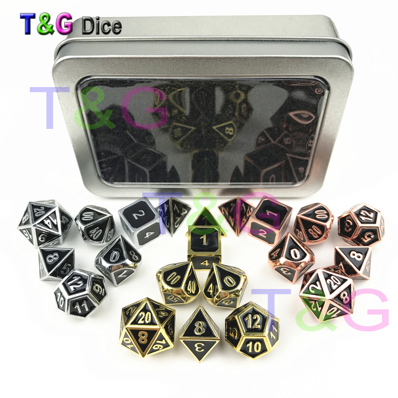 все цены на Top Quality Set of 7 Deluxe Metal Golden Polyhedral Game Dice Set Shinny RPG Game Dice 7pcs Set of D4 D6 D8 D10 D12 D20 D% онлайн
