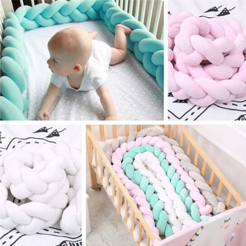 Baby Braided Crib Bumper Soft Knot Pillow Protective /& Decorative Long Baby Nursery Bedding Cushion Knot Plush Pillow for Toddler//Newborn Gray 138 inch