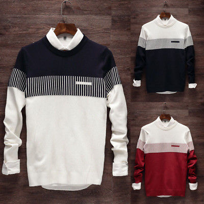 Fashion Pullover Jumper Mens Knitted Pullover Long Sleeve Sweater Novelty Warm Men Swate ...