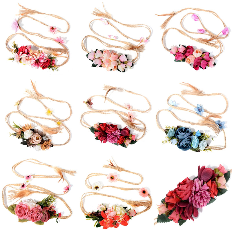Pinksee Newest Exquisite Elegant 8 Styles Flower Waist Chain for Female Ladies Fine Dress Belt Braid Decoration Trendy Jewelry