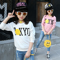 2017 Spring New Baby Girl Pullover T-shirt Cotton Letter Pattern Kid Tops Tees O-neck Long Sleeve Children Solid Clothes