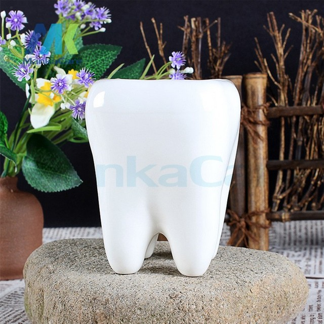 Nice 2 Pcs Tooth Shap Pastoral Style White Ceramic Plant Pots Teeth Model  Flowerpot Flower Garden Pots