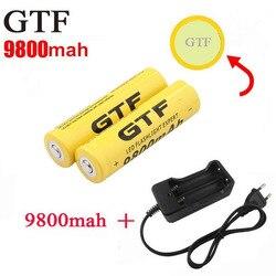 Baterias recarregáveis do li-íon da bateria 18650 mah 9800 v de gtf 3.7 para a lanterna + ue/eua bateria do acumulador do carregador de bateria do li-íon