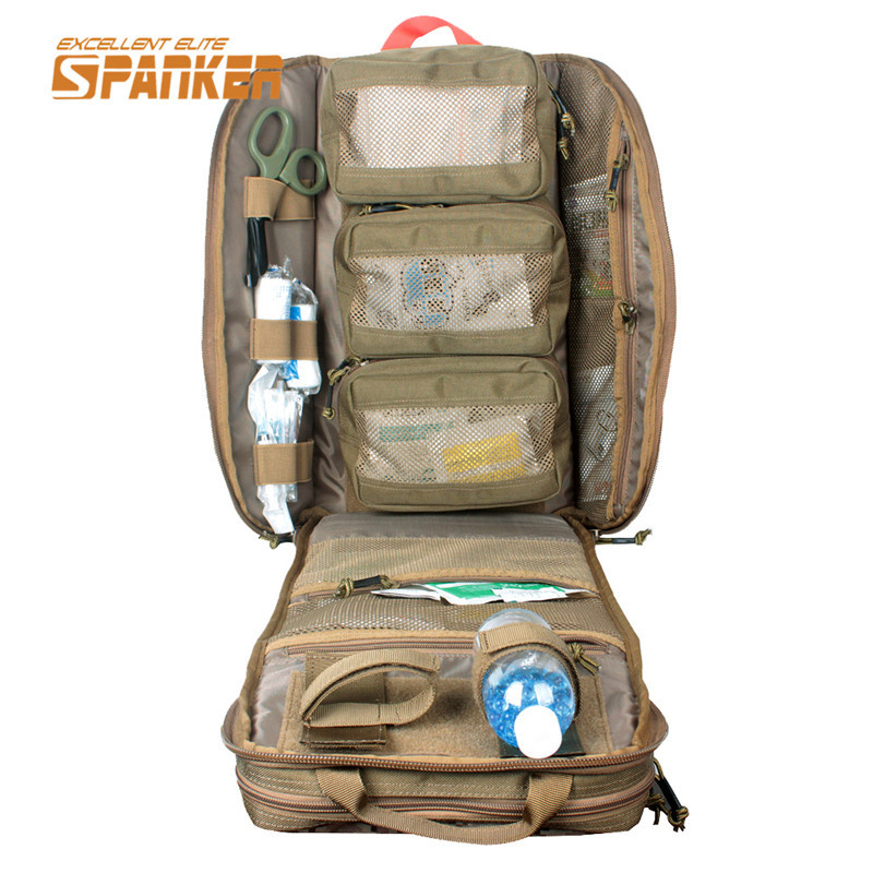SPANKER Tactical MOLLE Medical Backpack Military First Aid Kit Backpack Emergency Assault Combat Rucksack Outdoor Hunting Bags kitcox70427fao4001 value kit first aid only inc alcohol cleansing pads fao4001 and glad forceflex tall kitchen drawstring bags cox70427