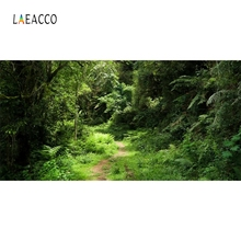 Laeacco Jungle Forest Tropical Green Grass Shrub Photography Backgrounds Customized Photographic Backdrops For Photo Studio