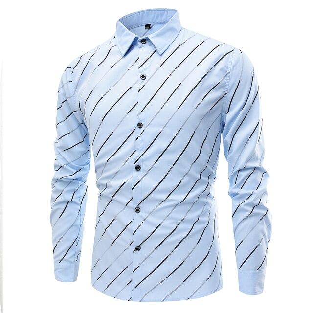 2017 High Quality Men Shirts Cotton Long Sleeve Mens Dress Shirts Striped Business Men Casual Shirt Slim Fit Plus Size Camisas