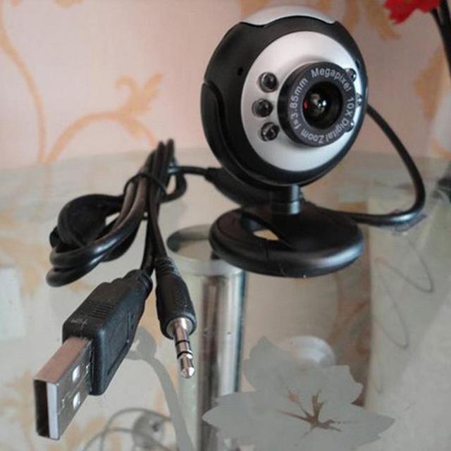 USB 6 LED Camera de Vision Nocturne PC Webcam  Reseau avec Microphone pour MSN ICQ AIM Reunion Skype Net Noir