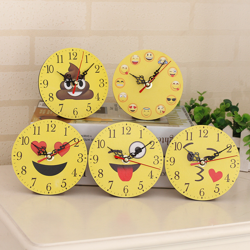 2019 Silent Sweep Emoji Emoticon Bell Desk Creative Digital Clock Wall Stickers For Kids Rooms Home Decor Reloj De Pared