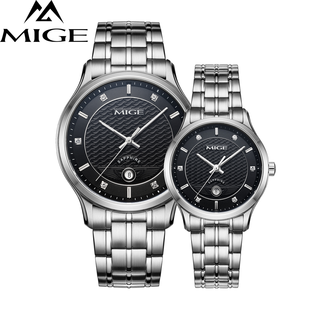 Mige 2017 New Hot Sale Lover Ladies Watch Black White Steel Case Waterproof Female Clock Auto Date Quartz Movement Women Watches mige 2017 new hot sale lover man watch rose gold case white casual ultrathin waterproof relogio masculino quartz mans watches